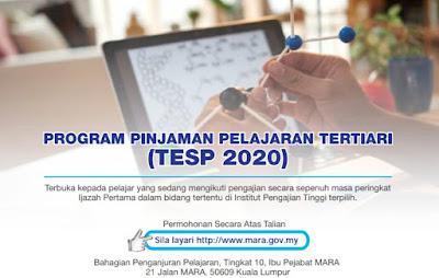 Permohonan Program Penajaan Pengajian Tertiari (TESP) MARA 2020 Online (Semakan Status)