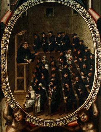 1614 — University Lecture Room by Martin de Cervera — Image by © Alfredo Dagli Orti/The Art Archive/Corbis