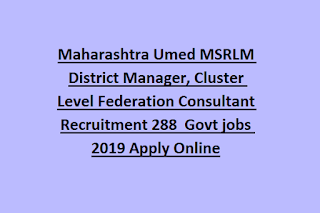 Maharashtra Umed MSRLM District Manager, Cluster Level Federation Consultant Recruitment 288  Govt jobs 2019 Apply Online