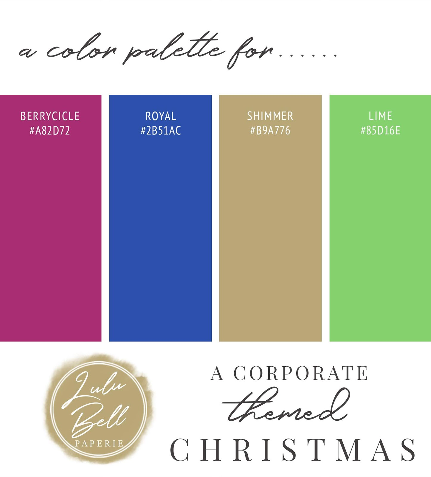 Royal Blue, Gold, Pink, and Green Christmas Color Palette Swatch Card : Berrycicle, Royal, Shimmer, and Lime
