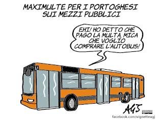 multe, mezzi pubblici, portoghesi, umorismo, economia, vignetta, satira