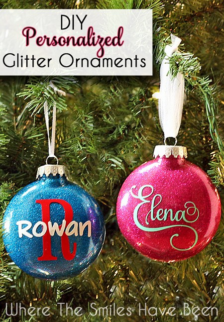 Personalized Glitter Ornaments from Where the Smiles Have Been