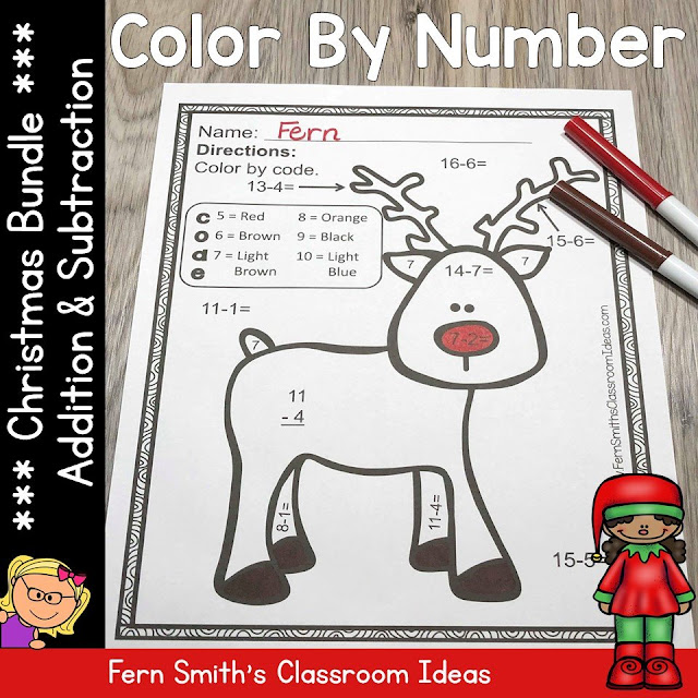 TEN Color By Number Christmas Addition and Subtraction
