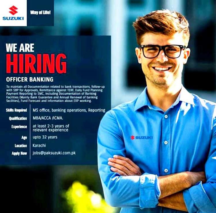 Officer Banking Latest  Jobs September 2021 – Latest Suzuki Motors Latest  Jobs