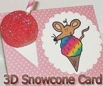 3D Snowcone Mouse Card by DIY Birthday Blog