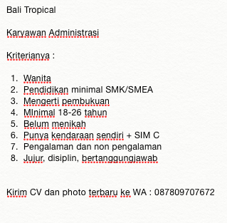 Lowongan kerja Bali Tropical 2019