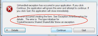The type initializer for 'CrystalDecisions.CrystalReports.Engine.ReportDocument' threw an exception