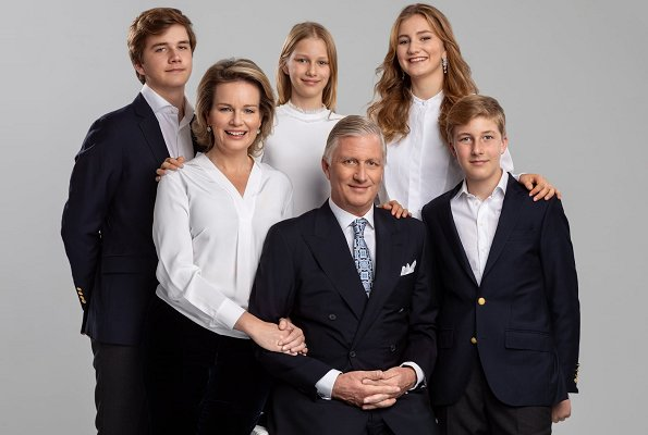 King Philippe, Queen Mathilde, Crown Princess Elisabeth, Prince Gabriel, Princess Eleonore and Prince Emmanuel