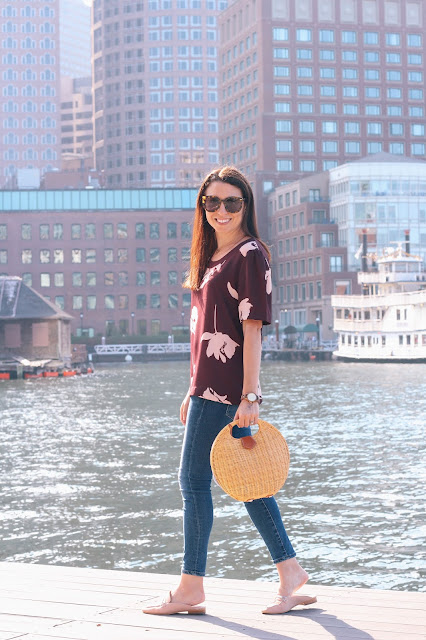 A jewel-toned loose fitting top with feminine touches and backless blush mules are the perfect Summer to Fall transitional pieces and are available in the Nordstrom Anniversary Sale.