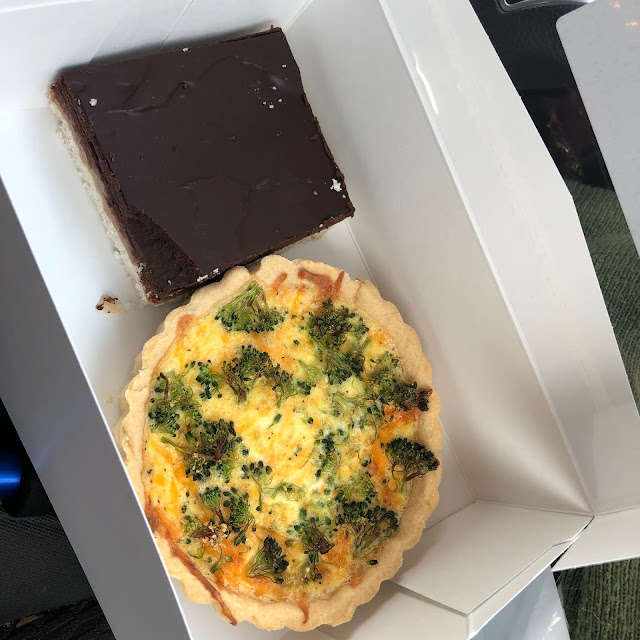 Pre-hike treats from Small Town Pastry in Bettendorf, Iowa including a broccoli and cheddar quiche and millionaire bar!