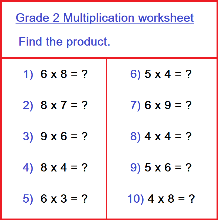 Maths Homework For Class 2 For April 13: Multiplication Worksheet And Table  Writing