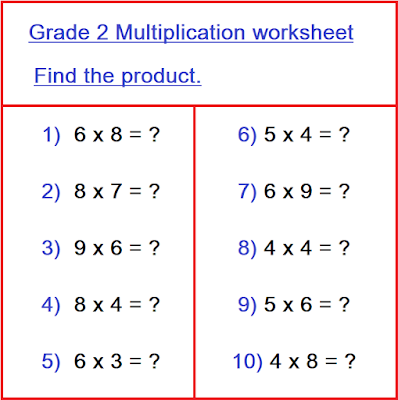 multiplication for class 2, Self Study Mantra, grade 2 multiplication worksheet, maths worksheet for class 2, homework help, homework