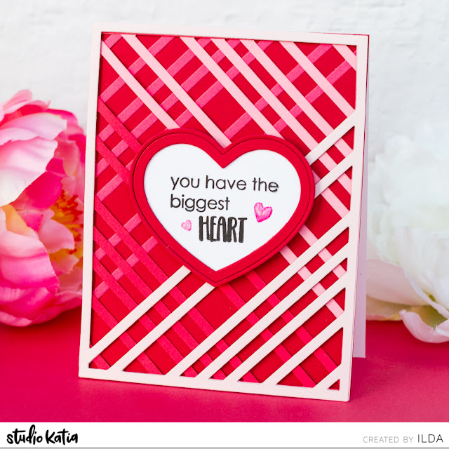 Plaid Background Valentine's Day Card | Layering Die Cuts | Studio Katia by ilovedoingallthingscrafty.com