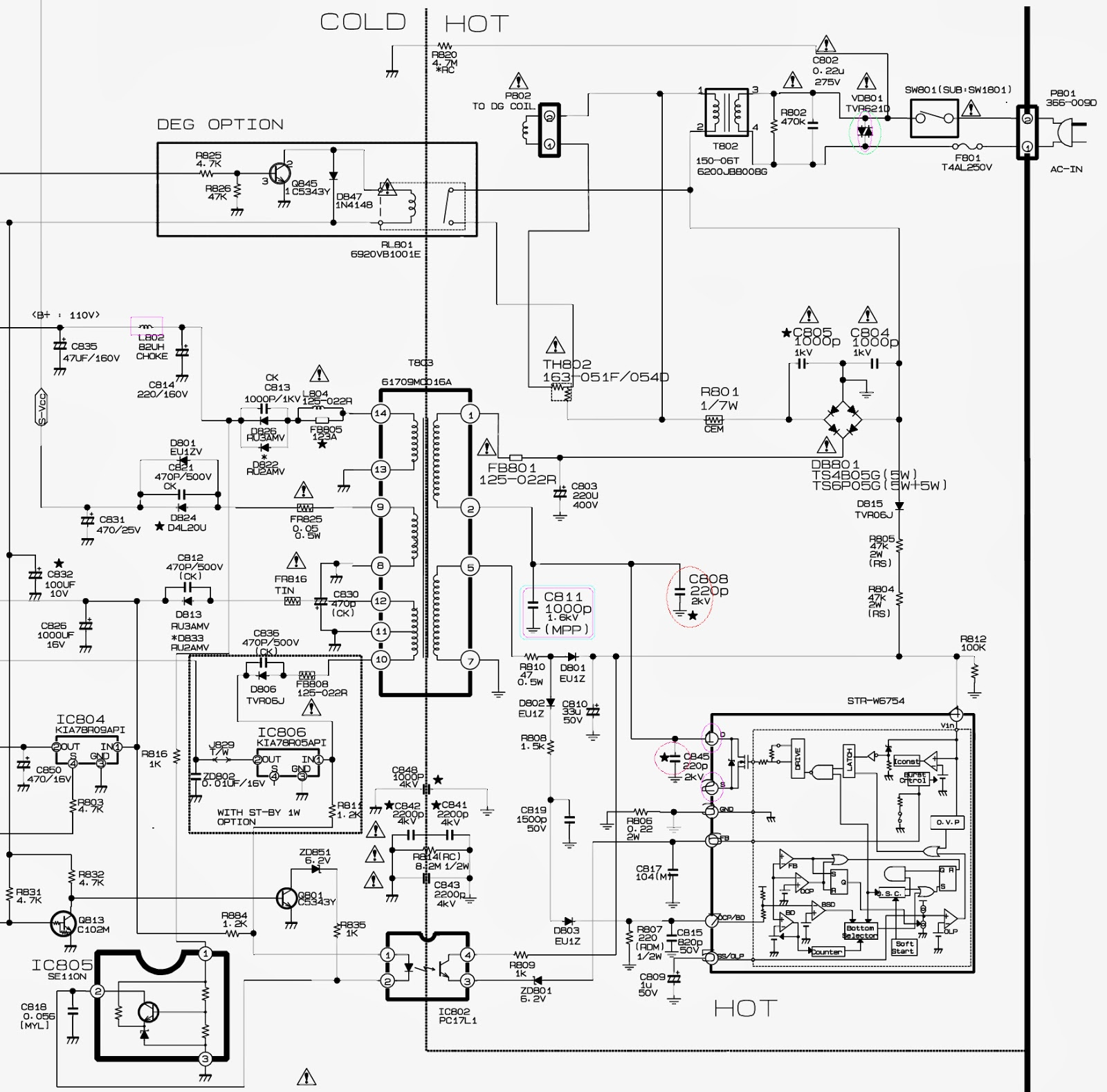 Str W6754 Based Smps Schematic Circuit Diagram Click On The 4 Prong Wiring To Zoom