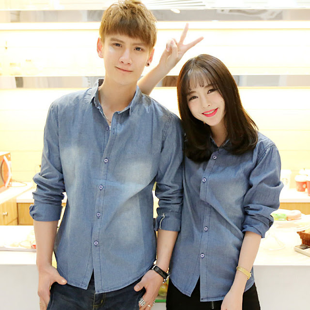 Kemeja Denim Couple Korea Bahan Cotton Lengan Pendek