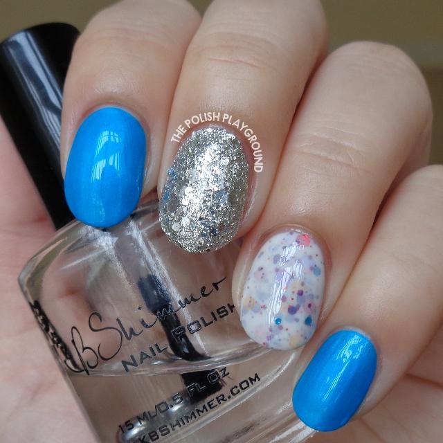 Blue Neon, White Crelly & Silver Glitter Nail Art