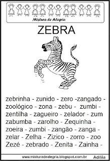Fichas de leitura - letra Z
