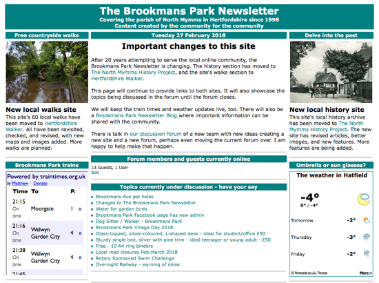 Screen grab of The Brookmans Park Newsletter taken on Tuesday 27 February 2018