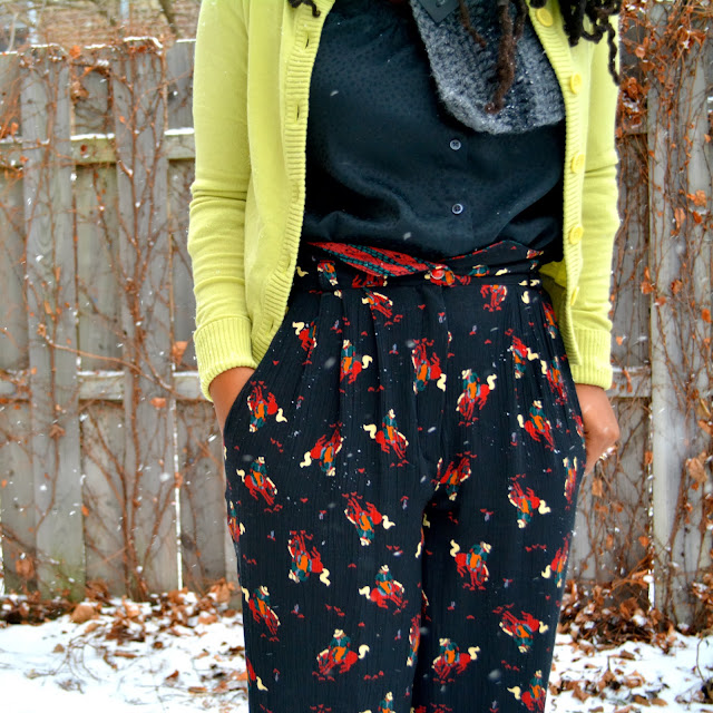 90s pants worn with Betsey Johnson ankle boots