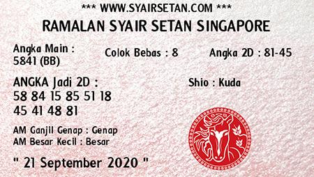 Syair Setan SGP Senin 21 September 2020