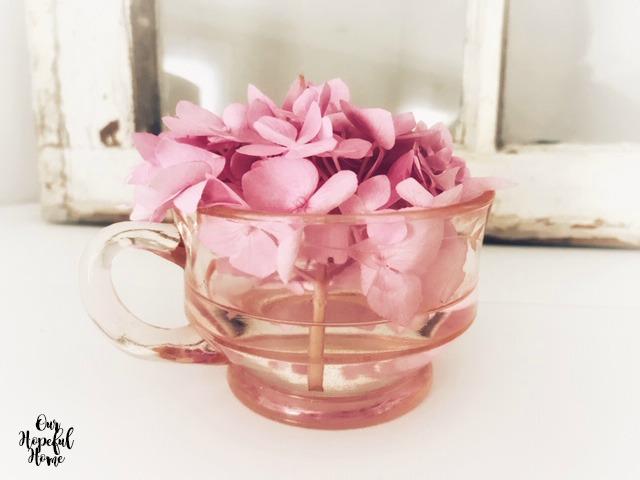 vintage pink depression glass creamer vase hydrangea