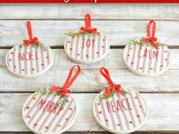 Farmhouse Ticking Stripe Embroidery Hoop Ornaments