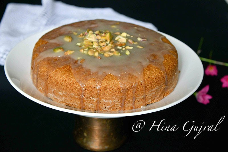 is a humble cake without whatever decorative icing but the flavors are subtle Eggless Semolina Cake Recipe