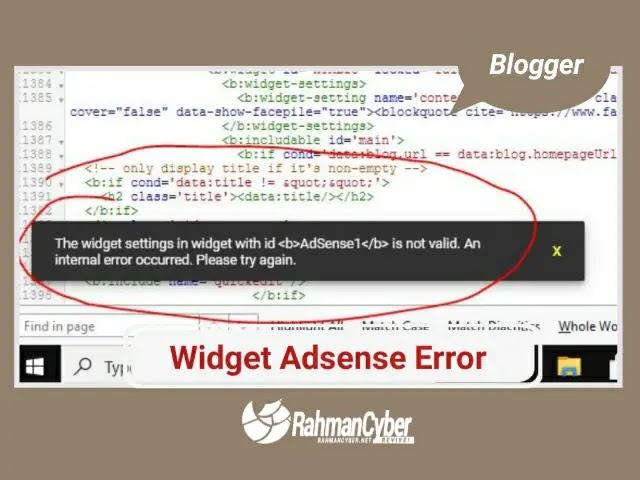 widget adsense error