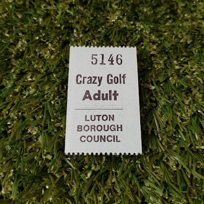 Ticket for the Crazy Golf course in Wardown Park, Luton