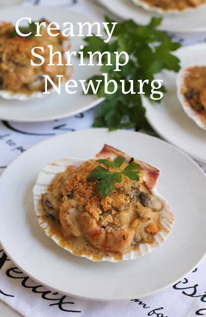 Food Lust People Love: Succulent shrimp and golden buttery mushrooms make this creamy shrimp Newburg a rich, delicious dish that is perfect as a fancy appetizer or to serve with a big green salad as a main course. You can also serve it over pasta or rice.