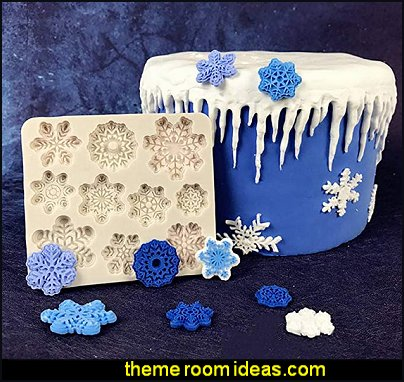 Snowflake Christmas Silicone Fondant Tools Snowflake Mold for Cake Baking Decoration Mold Ice Snowflake Cookie Cutters