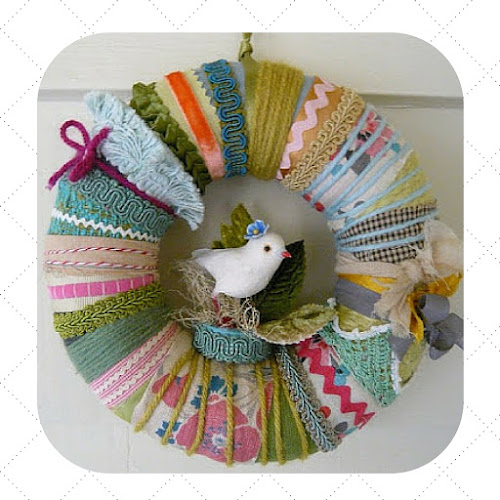 fabric, yarn and ribbon wreaths The Constant Gatherer Katie Runnels handmade