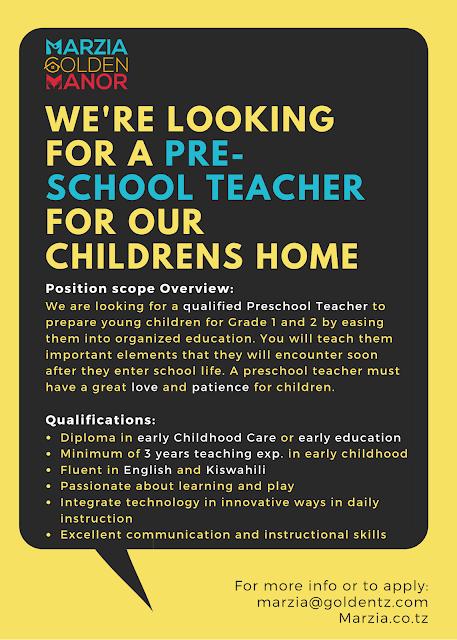 Job Opportunity at Marzia Golden Manor, Pre-School Teacher