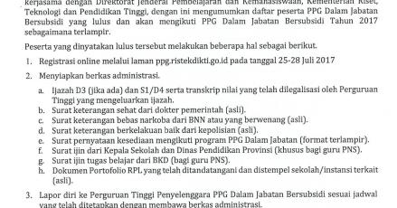 Pengumuman Hasil Pre Tes Ppg 2017 2018