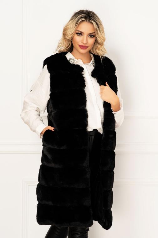 Vesta lunga eleganta neagra  din blana ecologica