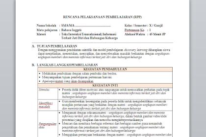RPP 1 Lembar Bahasa Inggris Kelas 10 Semester 1 & 2