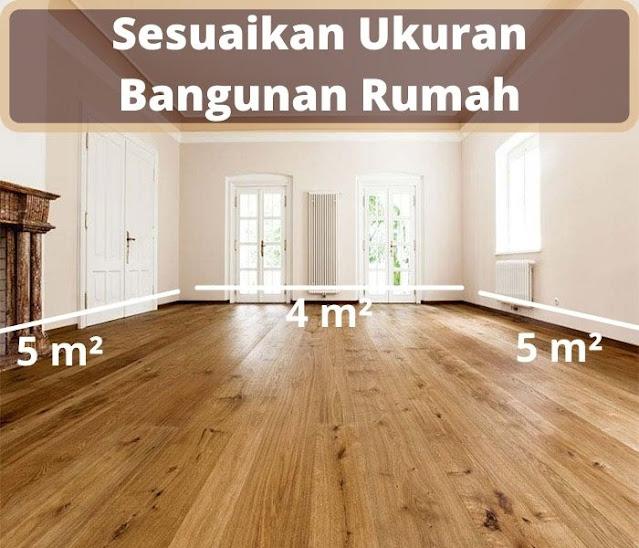 ukuran ruangan lantai kayu
