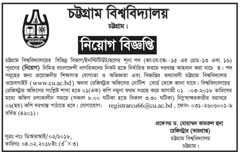University of Chittagong (CU) Employee Recruitment Apply Instruction, Application Fee, Payment Process, Salary, Age and Other Information