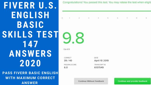 Fiverr U.S. English Basic Skills Test Answers 2020
