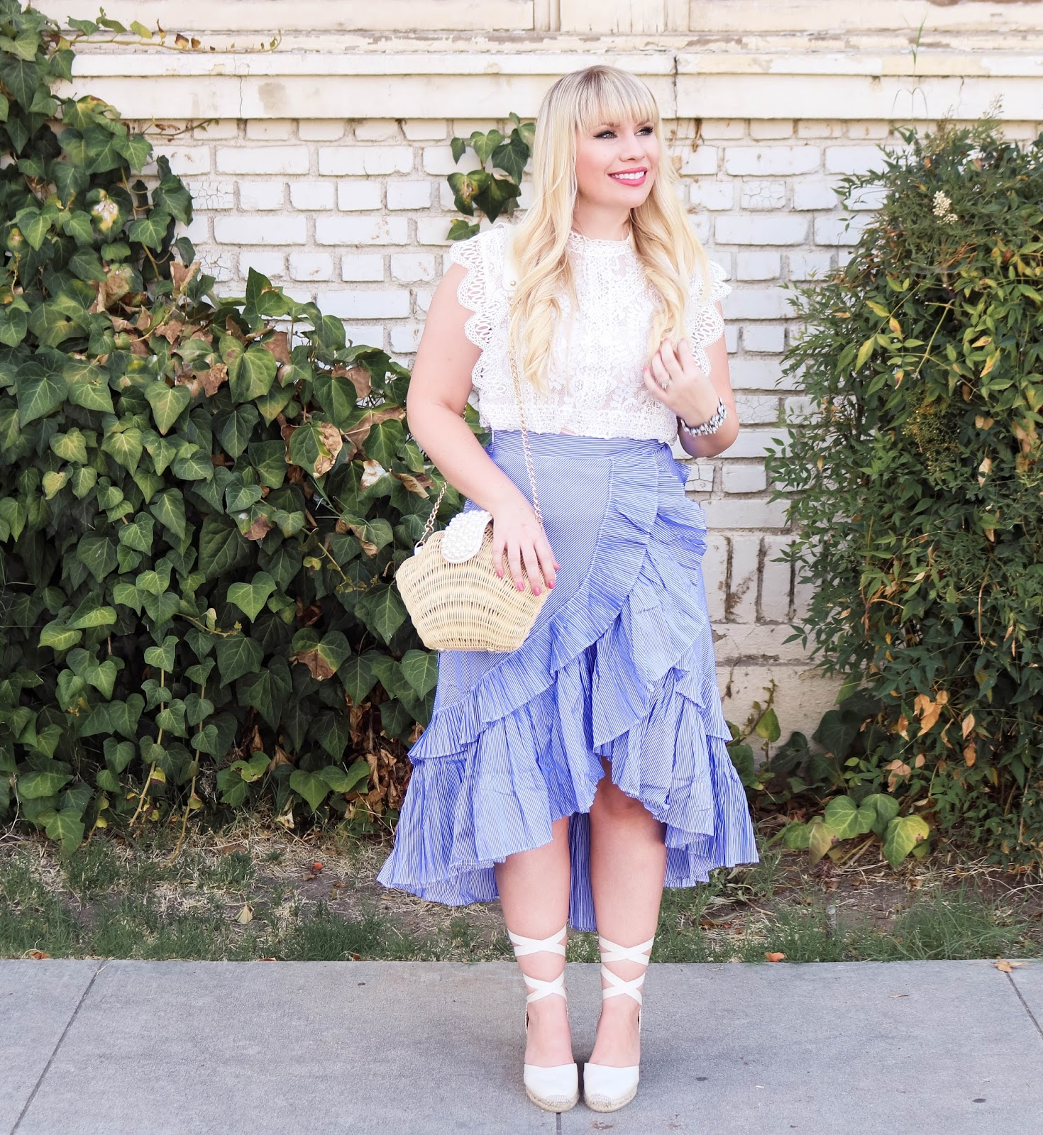 3ea2b9a3d6b8c0 Most of the time, my ruffles on top but today I am showing you how to style  a ruffled skirt 🙂