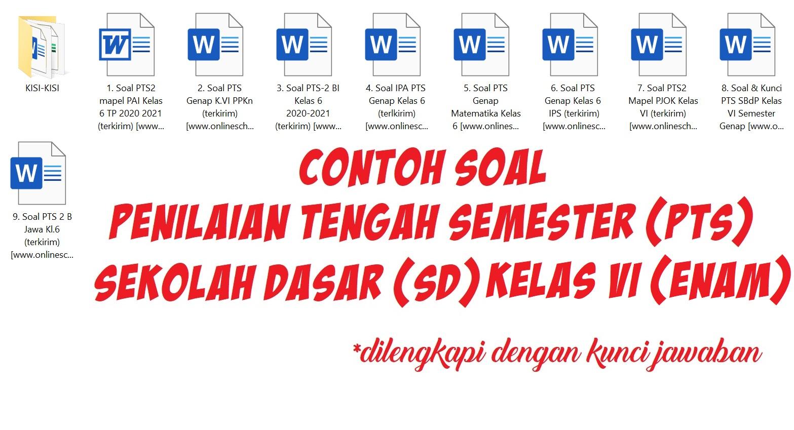 Contoh Soal Penilaian Tengah Semester (PTS) Sekolah Dasar (SD) Kelas VI (Enam)