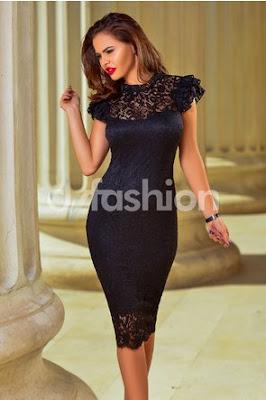 Rochie de nunta Neagra Midi Din Dantela Eleganta eleganta