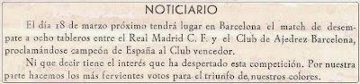 Comunicación en el Boletín nº LXV de febrero de 1956 del Club Ajedrez Barcelona
