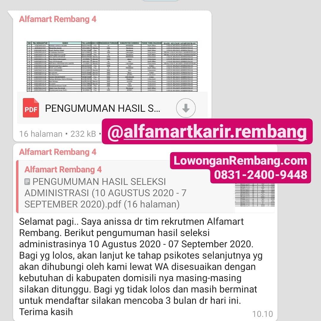 Pengumuman Seleksi Administrasi Alfamart Rembang Periode 10 Agustus 2020 - 07 September 2020