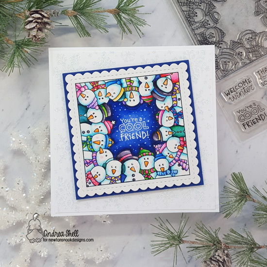 Cool Friend Snowman card by Andrea Shell | Snowman Party Stamp Set, Frames Squared Die Set, and Snowfall Stencil by Newton's Nook Designs #newtonsnook #handmade