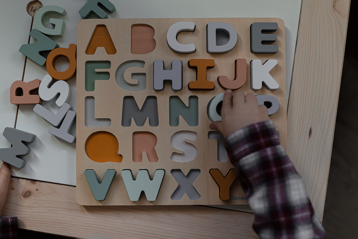 Alfabet 3D, drewniane puzzle
