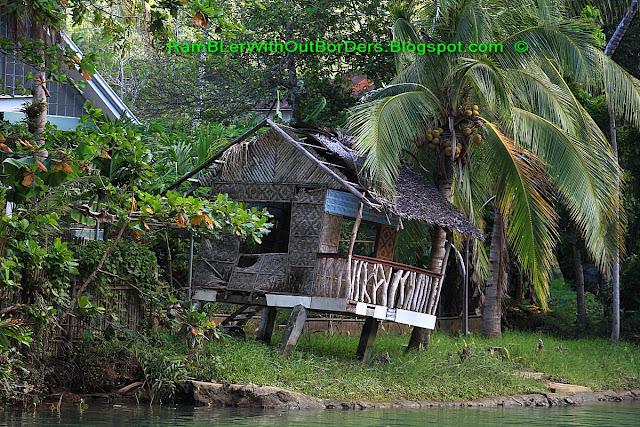 Leaning hut, Loboc River, Bohol, Philippines