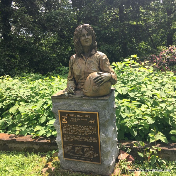 monument to astronaut Christa McAuliffe in garden at top of Sunrise Carriage Trail in Charleston, West Virginia