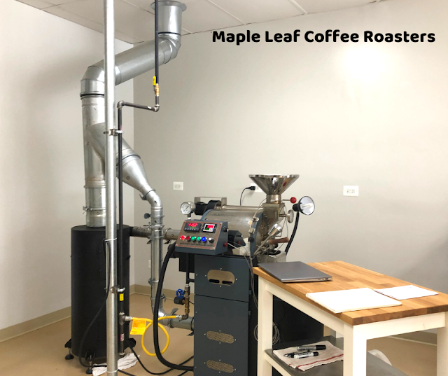 Learning about coffee roasting about Maple Leaf Coffee Roasters in Roselle, Illinois