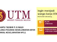 Jawatan Kosong di Universiti Teknologi Malaysia UTM - Tetap / Terbuka Lelaki & Wanita